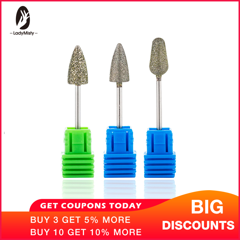 Ladymisty Gros Nail Foret Korund Burr Fraise Bits Pour Manucure Pedicure Outils Electric Nail Forage Accessories