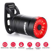 LEADBIKE, luz trasera de bicicleta inteligente, luz de bicicleta con sensor de freno, linterna de ciclismo IPX6, luz trasera Led recargable por USB, Accesorios Mtb