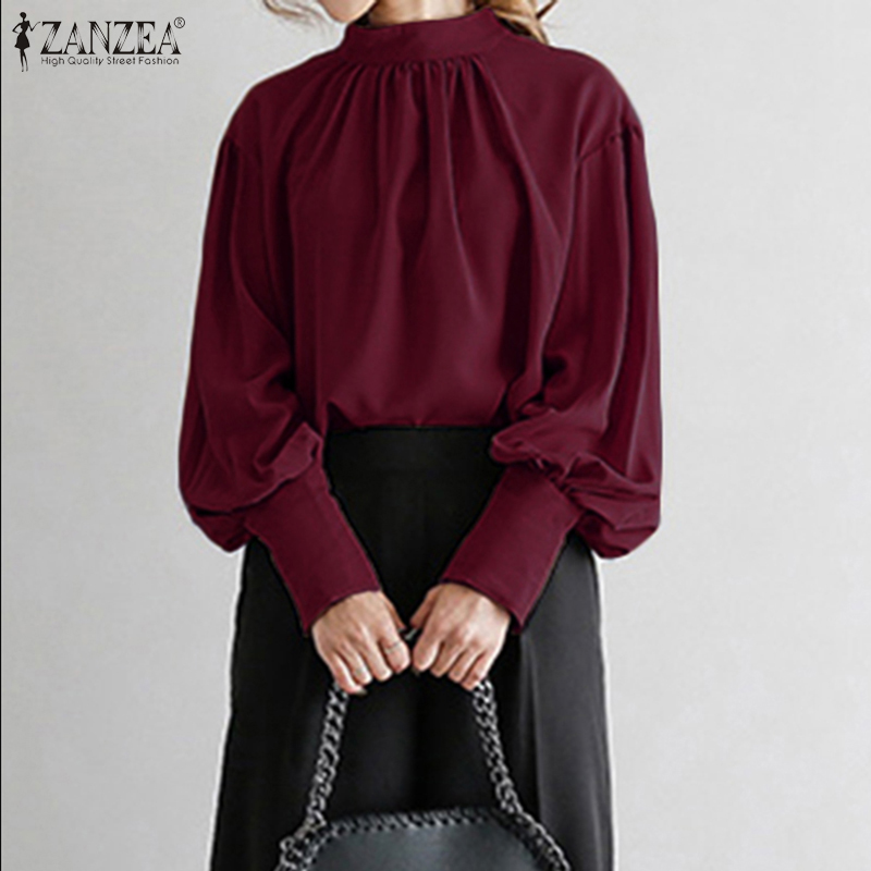 2020 Fashion ZANZEA Women Puff Sleeve Stand Collar Blouse Lady Work Office Chic Shirts Elegant Solid Tunic Tops Chemise Oversize