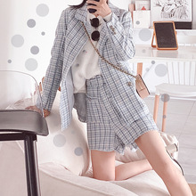 Autumn 2019 New Womens Wear Korean Chequered Woolen Ladys Small Fragrance Suit Pants Two-piece