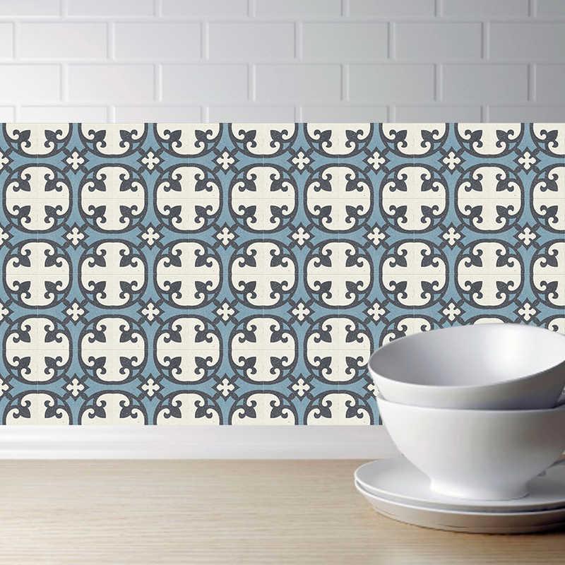 الرجعية الأزرق بلاط ملصقات المطبخ البلاستيكية للماء ملصقات جدار الحمام الذاتي لاصق DIY أريكة جدار الفن جدارية