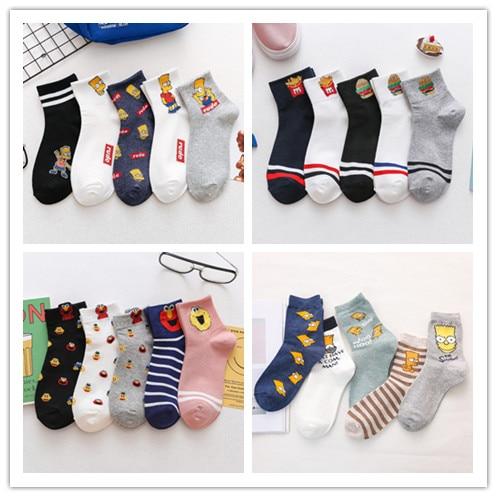 5 Pairs/lot Sports Simpson Couple Socks Cartoon Hamburger French Fries Funny Happy Men Women Socks Short Ankle Socks Harajuku