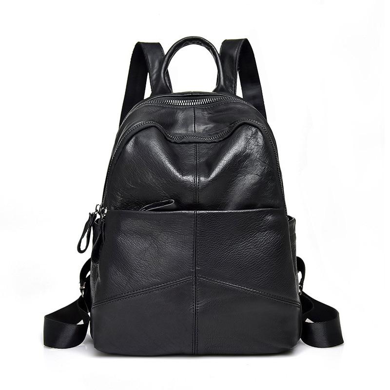 Women's Genuine Leather Backpack Bag Casual Waterproof Real  Cowhide Backpacks Female Luxury Back Pack Women Travel Bagpack