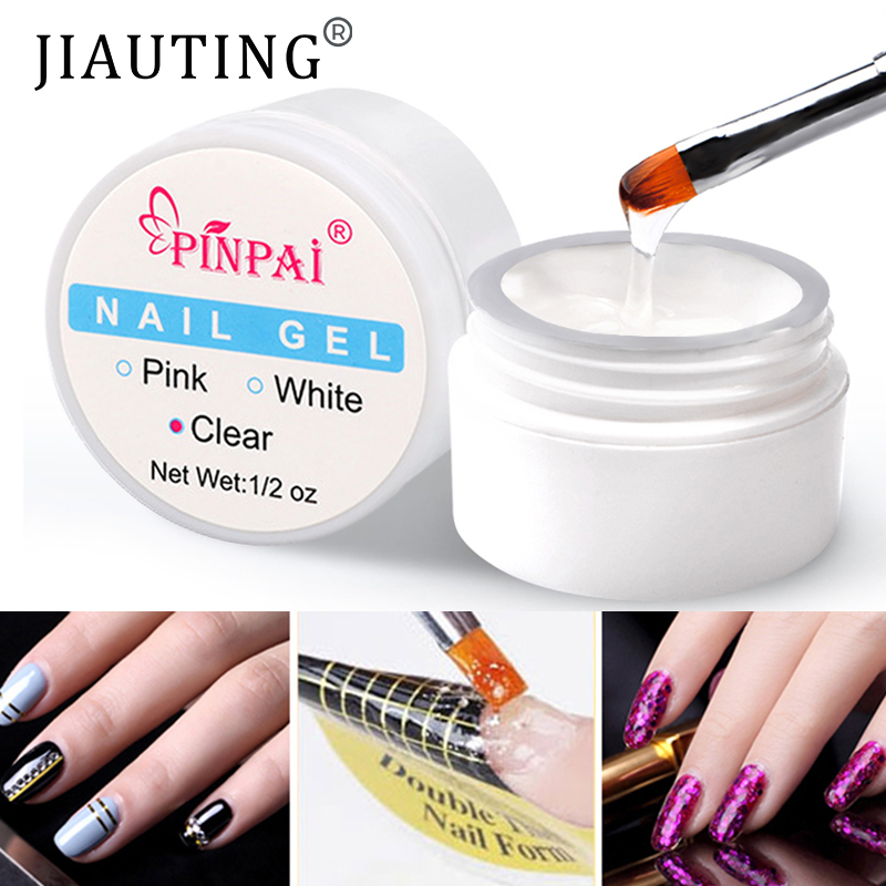 JIAUTING Quick Building Gel for Nail Extension Acrylic White Clear UV Builder Gel Manicure Nail Art Nail Extension Glue Nontoxic
