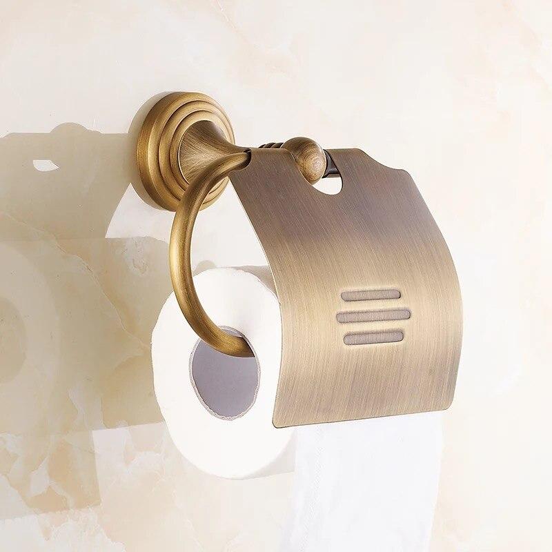 латунь ванная туалет бумага полотенце держатель бумага крючок антиквариат золото стена крепление унитаз бумага держатель