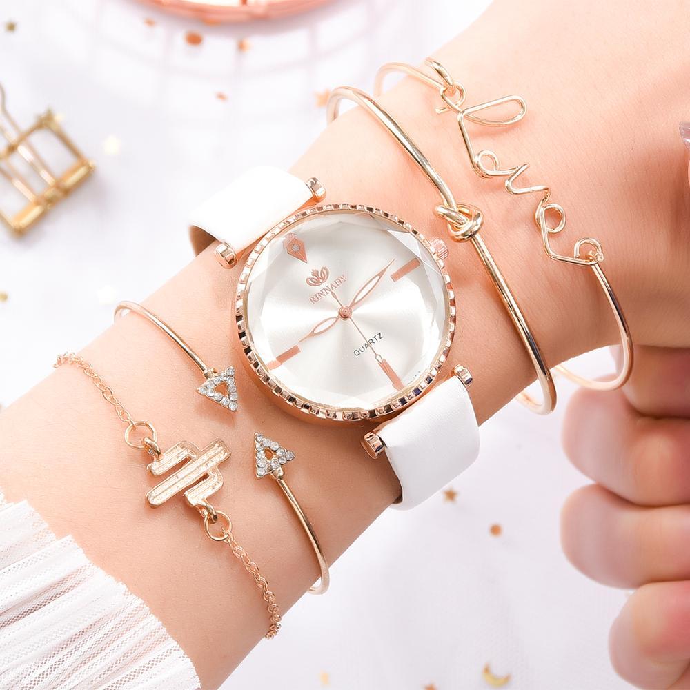 5PCS Women Watches With Bracelet Luxury Leather Band Women Sports Quartz Clock Ladies Business Wrist Watch Gift Relogio Feminino