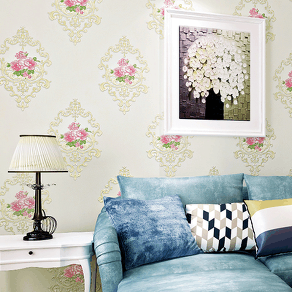 High quality rural floral warm romantic bedroom upscale beauty salon wallpaper European living room background TV wall paper