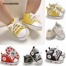 2019 Baby Canvas Shoes Newborn Boy Girl Anti-slip Soft Sole Crib Casual First Walkers Prewalkers 0 to 18M