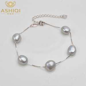 ASHIQI Genuine 925 Sterling Silver Bracelet 8-9mm White Gray Natural Freshwater Baroque Pearl Jewelry For Women(China)