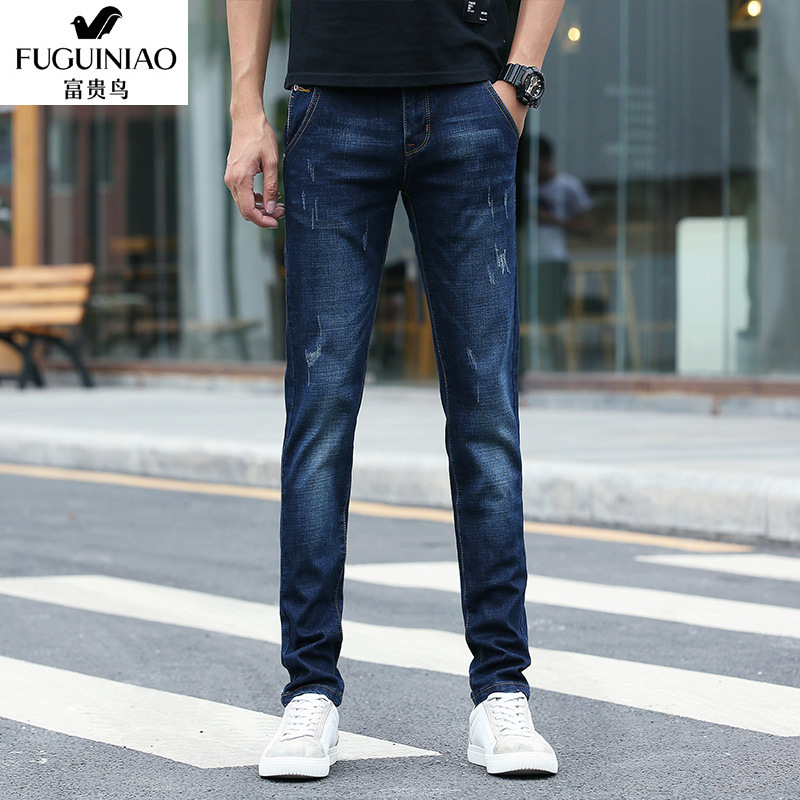 FGN 2019 Spring Korean-style MEN'S Jeans Casual Elasticity Men's Skinny Slim Fit Pants