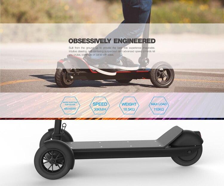 3 Wheel Golf Trolley Electric E Skateboard Self Balancing Scooter Long Range 500W Powerful Foldable For Club