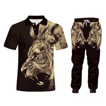 CJLM Casual Men's Tracksuit Hoodie Pants 3D Printing Two-piece Winter Jacket Men Loose Large Size Black Animal Lion Suit Sports 4