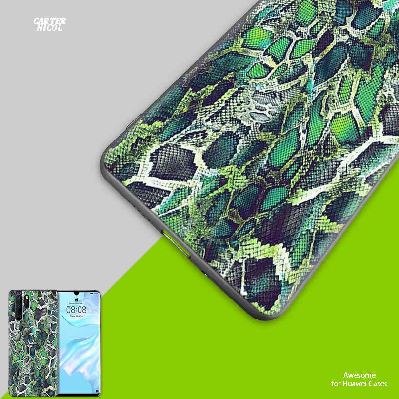 Siliconen Case voor Huawei Mate 30 20 10 P30 P20 Nova 5 5i Lite Pro P Smart Z Plus 2019 achterkant Roze Snake Skin DIY Afdrukken Dr