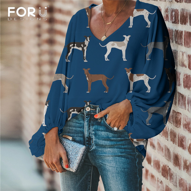 FORUDESIGNS Women Blouse Lovely Italian Greyhound Print Blouse 2019 Casual Loose Long Sleeve Shirt Tops Plus Size V-neck