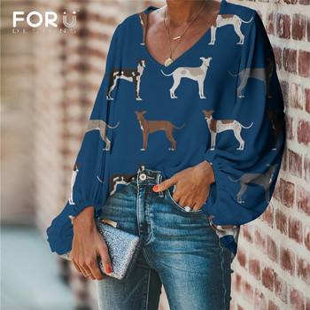 FORUDESIGNS Women Blouse Lovely Italian Greyhound Print Blouse 2019 Casual Loose Long Sleeve Shirt Tops Plus Size V-neck ethnic plunging neck long sleeve print blouse for women