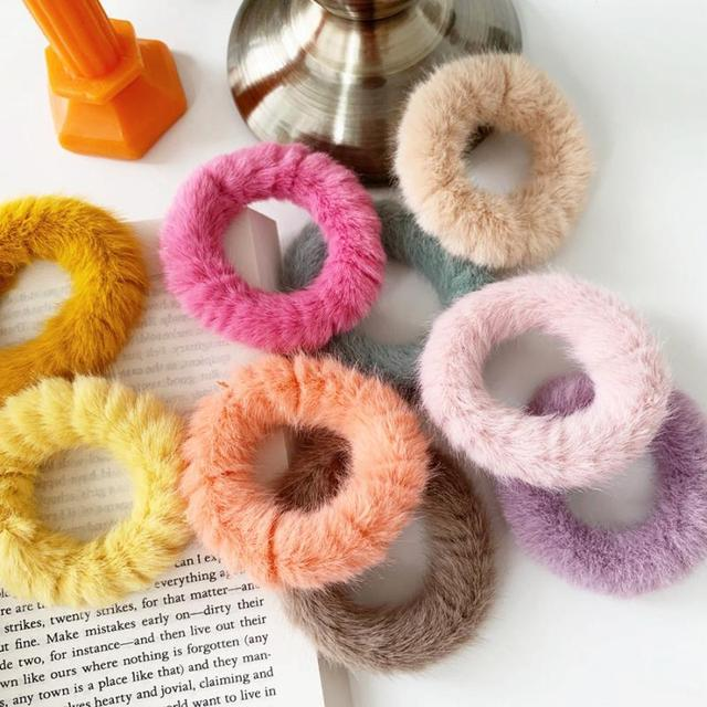 Bague en cuir couleur bonbon | Automne, hiver anneau de cheveux, imitation polyvalente corde de cheveux de lapin, boule de cheveux femme cuir chevelu étui en cuir, accessoires de cheveux coréens