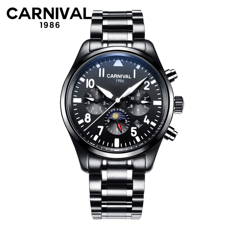 CARNIVAL Moon Phase Automatic Mechanical Watch Men Top Brand Luxury Business Waterproof 30M Wrist Watch Relogio Masculino
