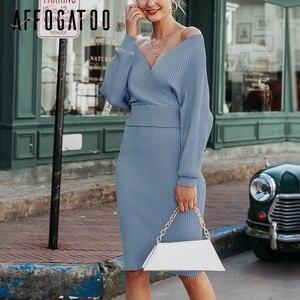 Image 4 - Affogatoo セクシーな v ネックの女性のニットピンクドレスエレガントなツーピースバットウィングスリーブセーターパーティードレスレディースボディコンミディドレス