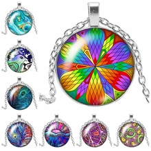 2019 New Color Feather Peacock Feather Glass Convex Round Pendant Necklace Anime Decorative Handmade Necklace Pendant 2019 new trend color woodpecker glass convex round pendant necklace youth accessories handmade necklace pendant