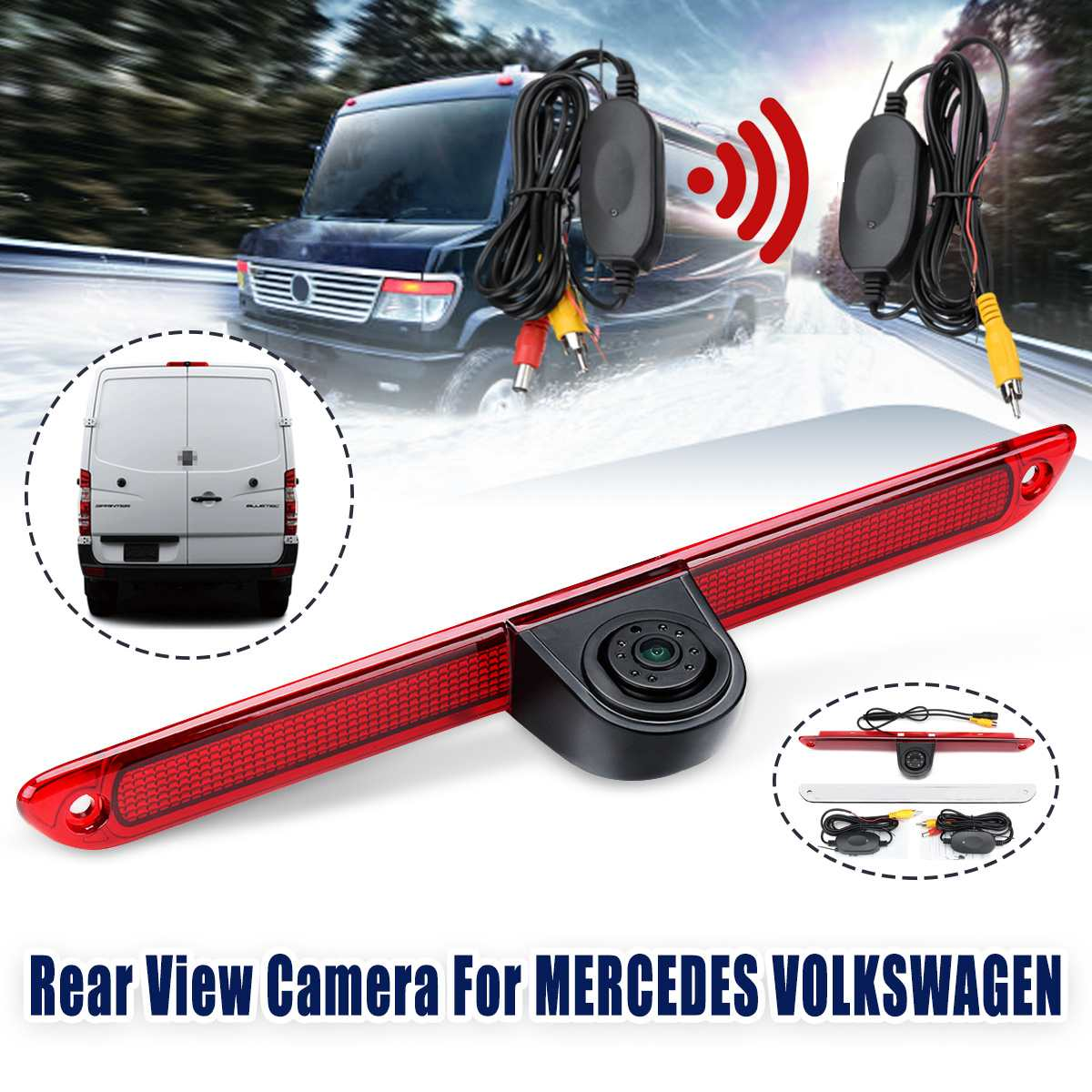 Wireless CCD HD Auto Car Rear View Camera Reverse Parking Night Vision 3rd Brake Light For VW Crafter Mercedes Sprinter