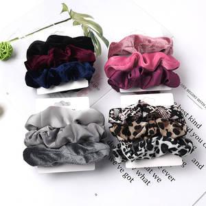 Vintage 3Pcs Hair Scrunchies Velvet Scrunchie Set Elastic Satin Hair Bands Fashion Headband Ponytail Ties Rope Hair Accessories