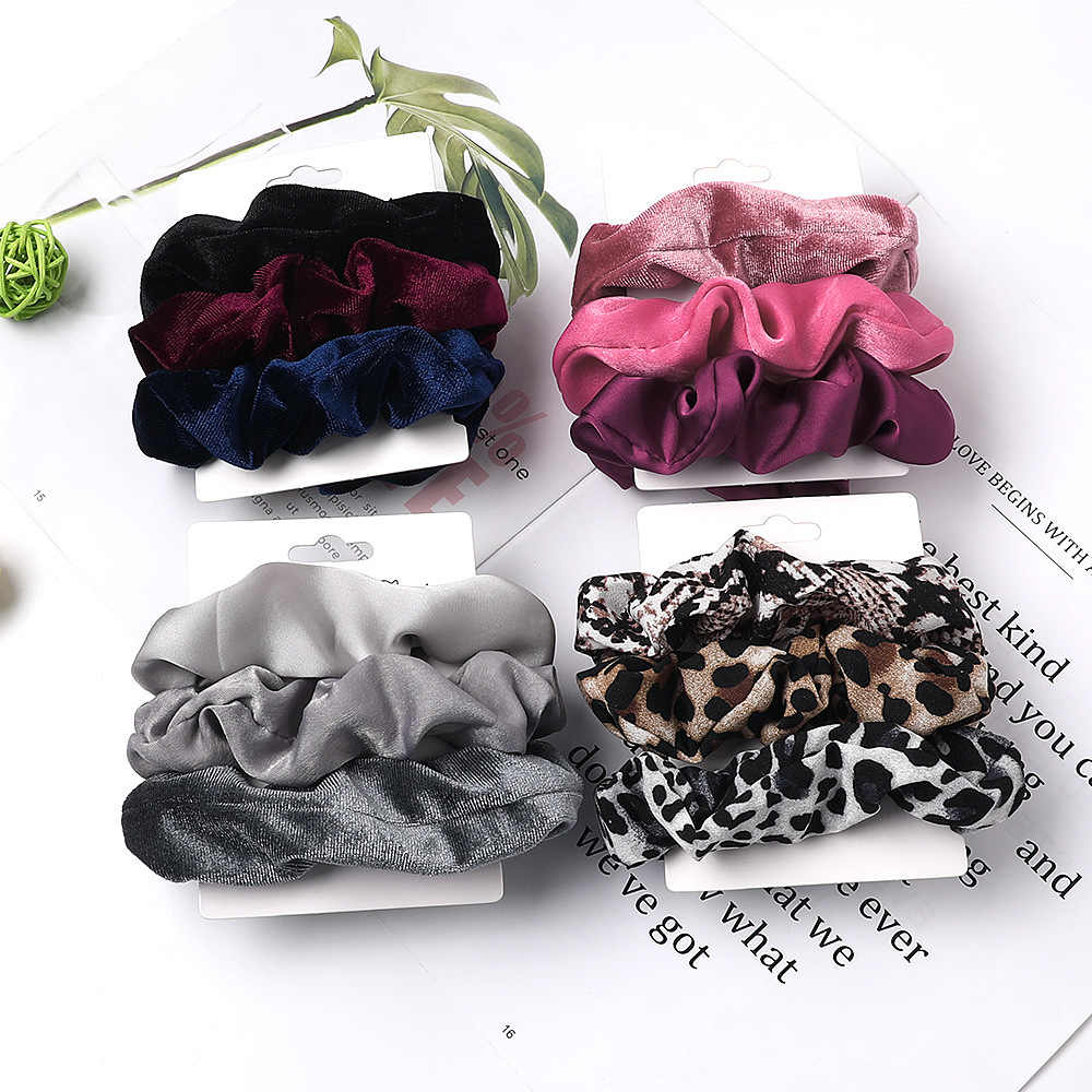 Vintage 3Pcs Hair Scrunchies Velvet Scrunchie Set Elastic Satin Hair Bands Fashion Headband Ponytail Ties Rope Hair Accessories