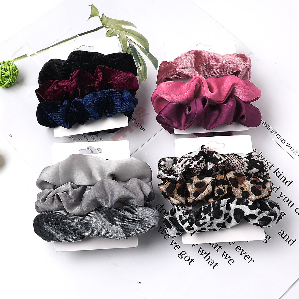 Vintage 3Pcs Hair Scrunchies Velvet Scrunchie Set Elastic Satin Hair Bands Fashion Headband Ponytail Ties Rope Hair Accessories(China)