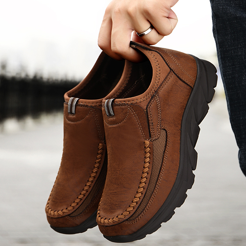 Winter Split Leather Flats Shoes Man 2019 Men Casual Shoes Slip On Loafers Moccasins Driving Shoes Male Footwear Plus 39-48