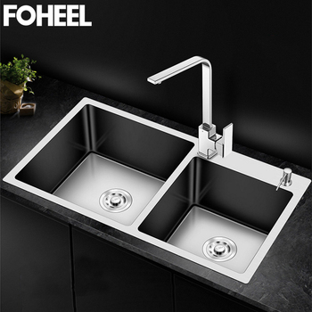 FOHEEL Kitchen Sink Double Bowl Above Counter Or Undermount Handmade Brushed Stainless Steel Kitchen Sinks Wastafel FKS02