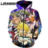 3D Print Anime Long sleeve Nanatsu No Taizai The Seven Deadly Sins Sweatshirt jacket Harajuku zipper shirt hoodies hoodie A189