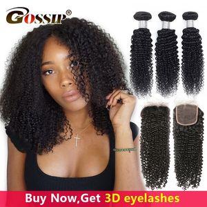 Mongolian Kinky Curly 3 Bundles With Closure Human Hair Bundles With Closure Gossip Non Remy Hair 100% Human Hair Free Shipping