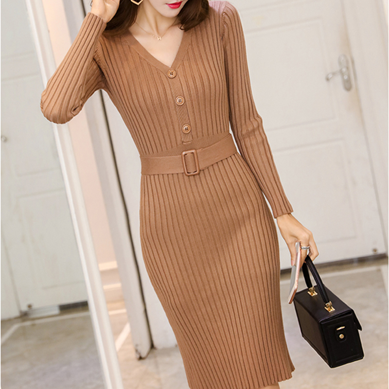 Knitted Belt Long Sleeve Dress Women 2020 Slim Bodycon Autumn Korean Elegant Fall Winter Button V Neck Sweater Midi Ribbed Dress