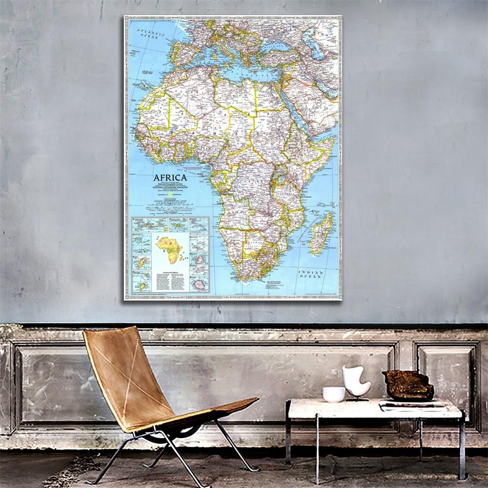 1990 Edition African Map HD Non-woven Foldable Spray Painting Lounge Hall  Wall Decor Map 100x150cm