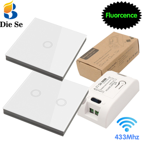Diese Smart Home Control Wireless Touch Light Switch rf 86 Wall Panel Touch ON/OFF Switch,AC 110V 220V 10A Receiver for Lamp LED