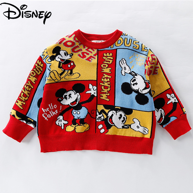Original Disney Mickey Mouse Kids Sweater Knit Pullover  Toddler Girl Clothes Kids Winter Clothes Baby Girl Sweater