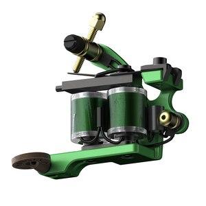 Image 3 - Profesjonalne cięcie drutu ręcznie ze stali węglowej Wrap cewki maszynka do tatuażu dla liniowej i cieniowania zielony kolor żelazne materiały do tatuażu