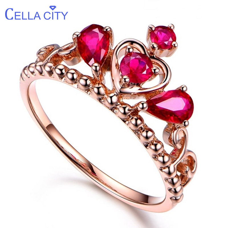 Cellacity Ruby Silver 925  Ring For Women Classic Queen Crown Lady Fine Jewelry  Engagement Party Gift Wholesale Size 6-10