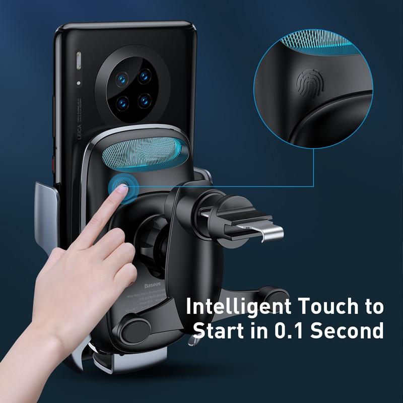 Baseus titular do telefone do carro 15w carregador sem fio para o iphone carga rápida 3.0 ventilação de ar montar titular do carro sem fio de carregamento titular 5