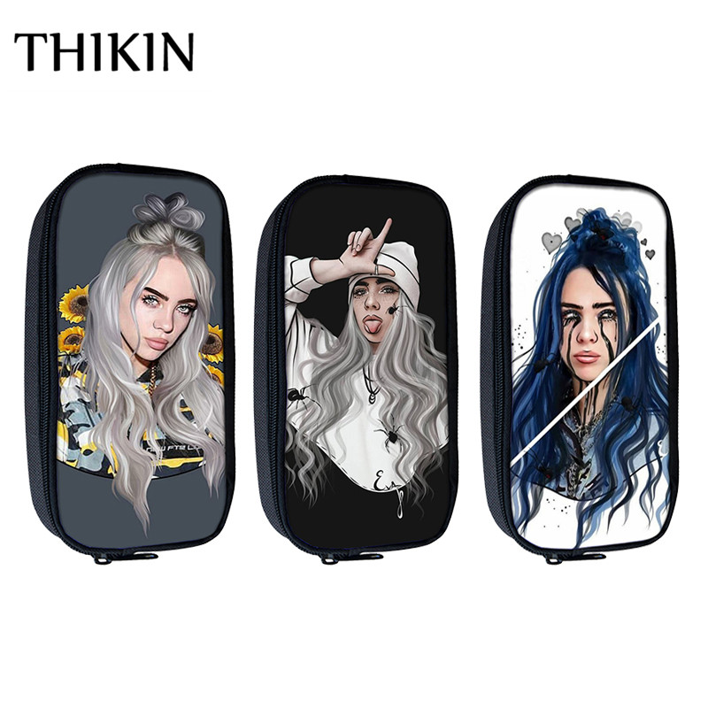 THIKIN Fashion Singer Rapper Billie Eilish Print Cosmetic Cases Pencil Bag Teenager Girls Mini Pencil Pouch Kids School Supplies