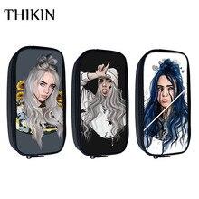THIKIN Fashion Singer Rapper Billie Eilish Print Cosmetic Cases Pencil Bag Teenager Girls Mini Pouch Kids School Supplies