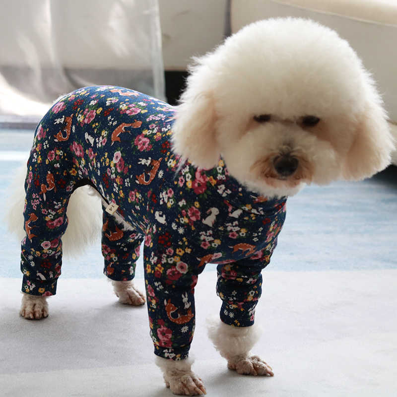 Pet Dog Jumpsuit Stretch Cotton Overalls Four Feet Thin Puppy Clothes For Small Dogs Pajamas Long Sleeve Sweatshirt Poodle Pug