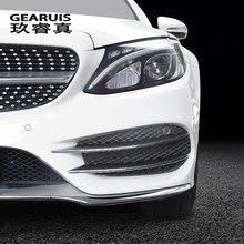 Estilo do carro cabeça de nevoeiro grille slats luzes auto cartão cobre adesivos para mercedes benz classe c w205 fibra carbono acessórios