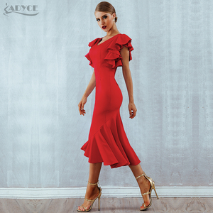Image 4 - Adyce夏赤フリルセレブイブニングドレスパーティードレス女性vestidos 2020 蝶ノースリーブバックレスマーメイドクラブドレス