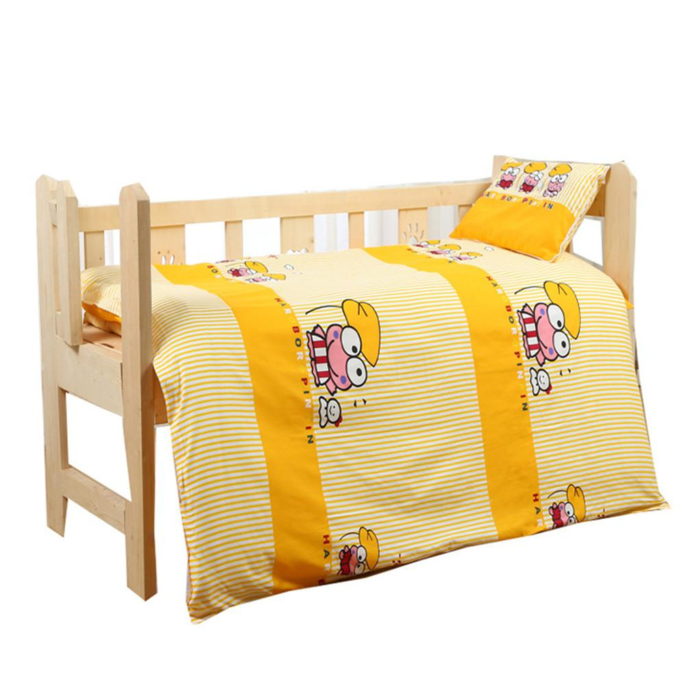 Kidlove 3Pcs Cotton Soft Crib Bed Linen Kit Cartoon Pattern Baby Bedding Set Without Filler