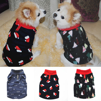 Autumn Winter Dog Clothes Soft Fleece Pet Clothing For Small Medium Dogs Vest Christmas Xmas Printed Costume Outfit Ropa Perro image