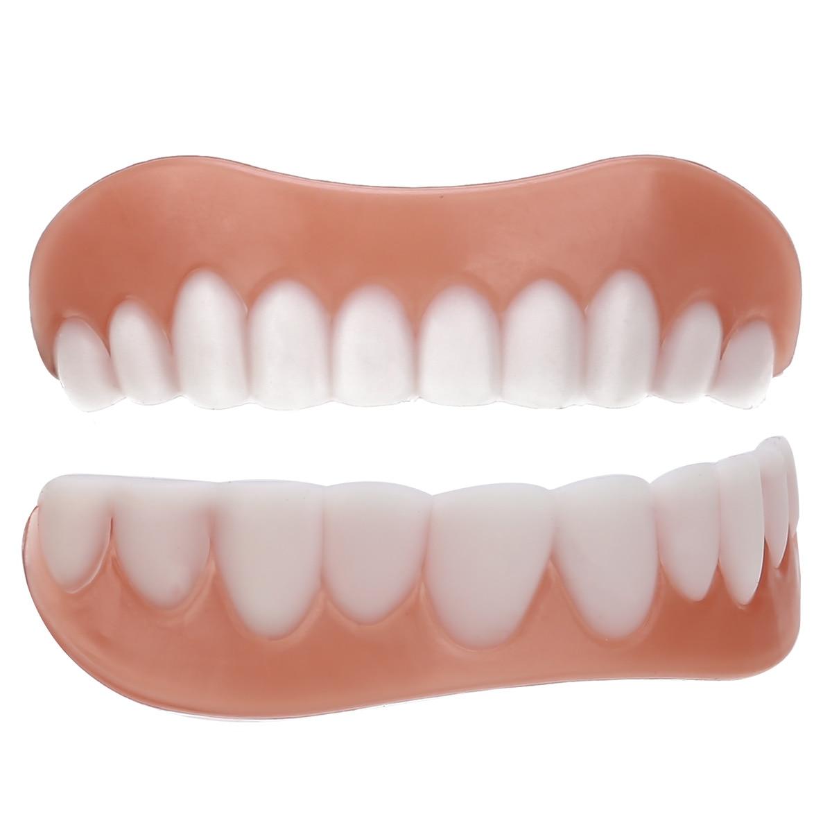 Top & Bottom Teeth Veneer Smile Perfect Snap Silicone Simulation Flex Denture Veneer Cosmetic Teeth Cover Whitening Braces