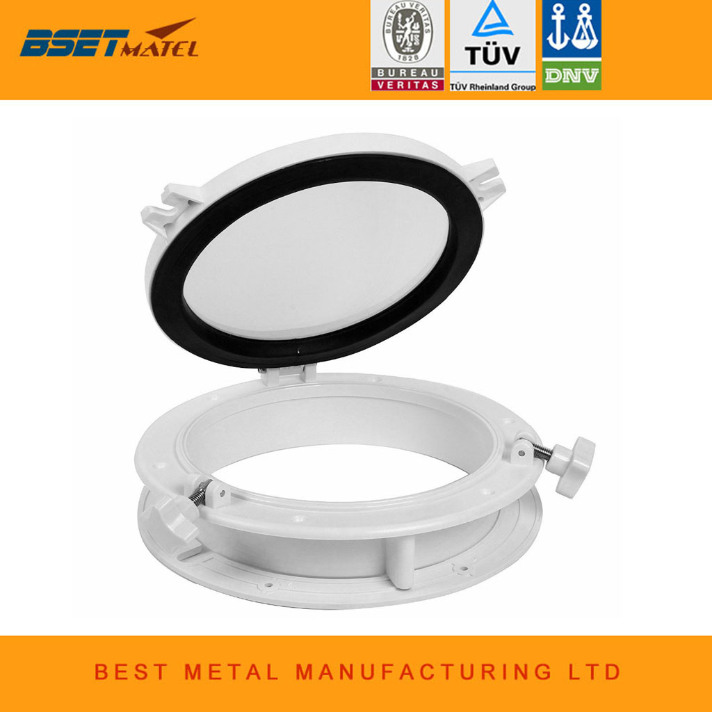 215mm Marine Boat Yacht RV Porthole ABS Plastic White Round Hatches Port Lights Replacement Windows Port Hole Opening Portlight