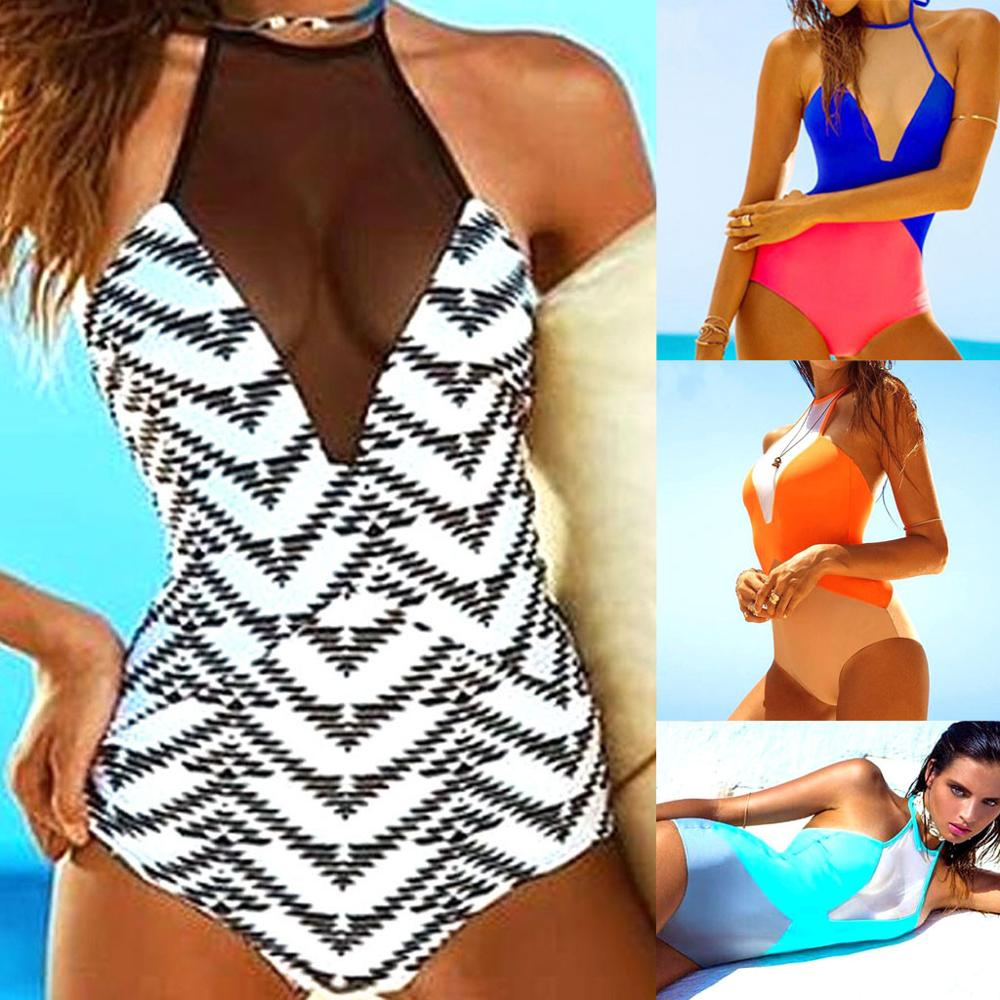Padded Swimsuit Costume Bikini-Sets Monokini Sexy Trend Summer Womens 20 Print Solid title=