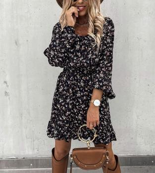 Women Ruffles Floral Print Square Collar Dress 2020 Autumn Winter Casual Long Sleeve A Line Slim Female Boho Mini Party Dress image