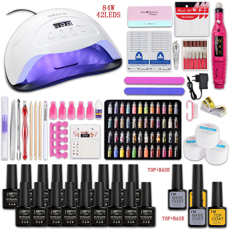 Gel Manicure-Set Nail-Lamp Art-Decorations Electric-Nail-Drill-Machine And Choose 18/12-Color